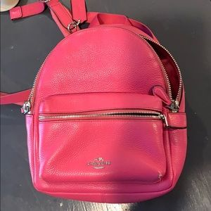 Coach Small Backpack- all leather - hot pink